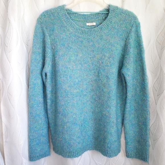 Fuzzy Blue Green Purple Flecked Crewneck Sweater